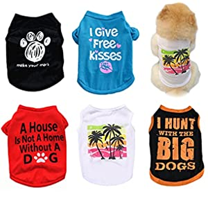 5PCS Dog Clothes for Small Dogs Boy Girl Pet Puppy Tshirts for Chihuahua Yorkies Clothes Boy Summer Jersey Sweatshirt Vest Pet Outfits Dog Cats Shirt Apparel Accessories for Small Dogs