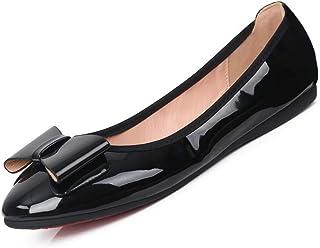 [Sydowey] パンプス 収納袋付き 携帯スリッパ 柔らかな穿き心地 折りたたみ バレエシューズ レディース 靴 シューズ 携帯スリッパ ぺたんこ ローヒール バレーパンプス リボン 大きいサイズ 小さいサイズ 痛くない 脱げない 黒