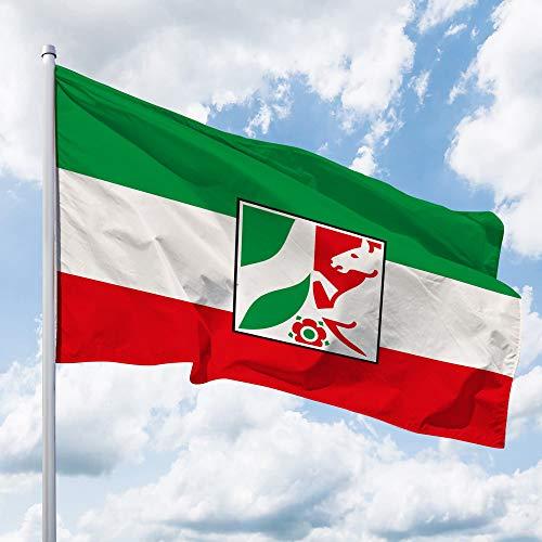 Deitert Bundesland-Flagge NRW – 120x80 cm NRW-Flagge mit Wappen (Bürgerflagge), Hissfahne aus reißfestem Polyester, NRW-Fahne mit Doppelsicherheitsnaht gesäumt