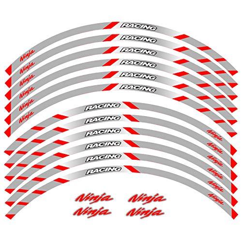 Ruedas delanteras y traseras de la motocicleta Etiqueta exterior del borde exterior Etiqueta de raya reflectante Calcomanías de la rueda (Color : 5)
