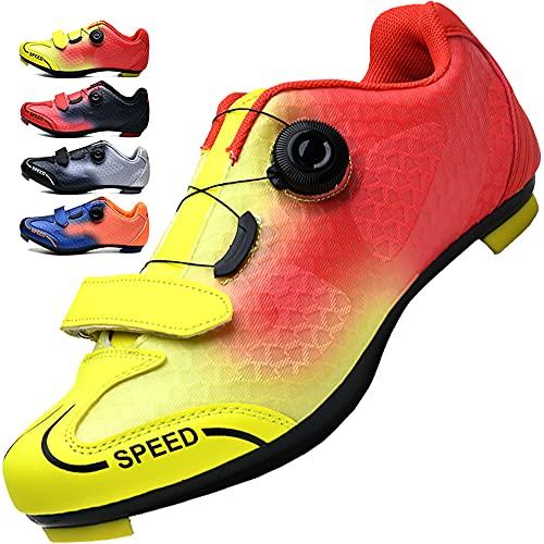 Fietsschoenen Heren Pelotonschoenen Dames Racefietsschoenen Bergschoenen Spin Shoestring Fietsschoenen Compatibel met Spd en Delta Lock,Yellow-5UK=(240mm)=38EU
