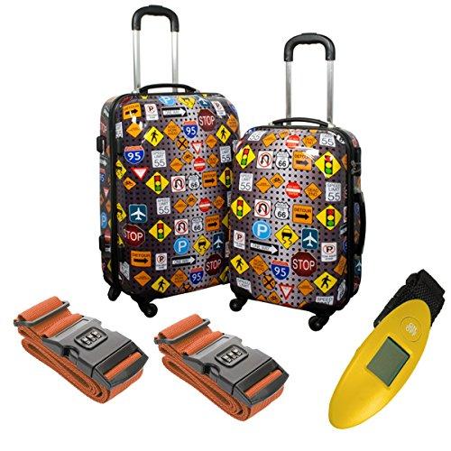 Hartschalen Koffer Set Poly ABS Koffer Vilnius Kofferwaage Koffergürtel Urlaub