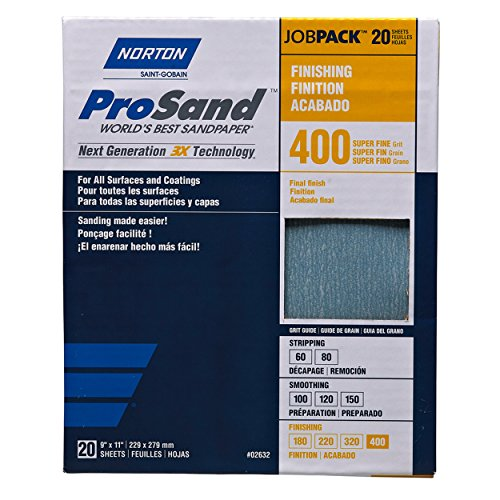 Norton Abrasives - St. Gobain, ProSand 9 in. x 11 in., Sanding Sheets 400G - 20 Pack