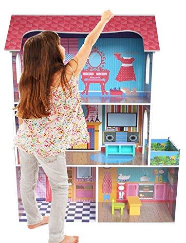 Kiddi Style Großes Premium Puppenhaus & Stadthaus aus Holz – Puppenstube & Holzpuppenhaus mit Puppenmöbel