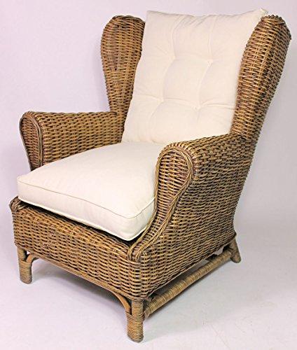 Rattan Ohrensessel King Chair, Rattansessel, Relexsessel, Hochlehner inkl. Polster Korbfarbe : Brown wash
