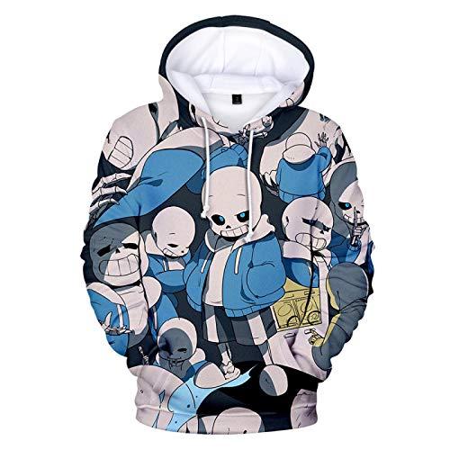 Undertale Cartoon Skull Pullover Sweatshirt, Couple Adults Kids 3D Printed Anime Skeleton Sans Cosplay Costume