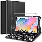 IVSO Español Teclado para Samsung Galaxy Tab S6 Lite, Protector de Pantalla para Samsung Galaxy Tab S6 Lite 10.4 2020, Funda con 7 Colores Retroiluminado Wireless Teclado con Ñ, Negro