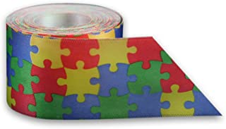Autism Awareness Satin Puzzle Piece Ribbon by The Yard (10 Yards)