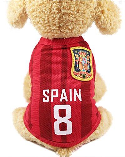 FishBabe Camiseta de la Copa del Mundo de Perro Mascotas Fútbol Jersey Deportes Equipo Nacional Chaleco Gato Verano Ropa Fresca España X-Small