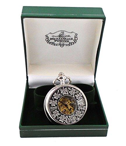 Mullingar Pewter Celtic Clover Weave Design Mechanical Pocket Watch