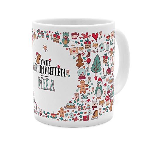 printplanet Tasse mit Namen Mila - Motiv Frohe Weihnachten - Namenstasse, Kaffeebecher, Mug, Becher, Kaffeetasse - Farbe Weiß