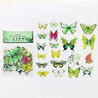 40個/バッグ美しい緑の蝶PVC装飾粘着ステッカーDIYクラフトノートの装飾