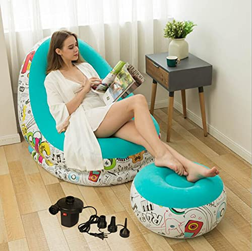 Aire Inflable Sofá Lounge Sillas, Otomano Blow Up Chaise Aire Lazy Sofa Set Flocked Chairs(Give Away Electric Air Pump),3s