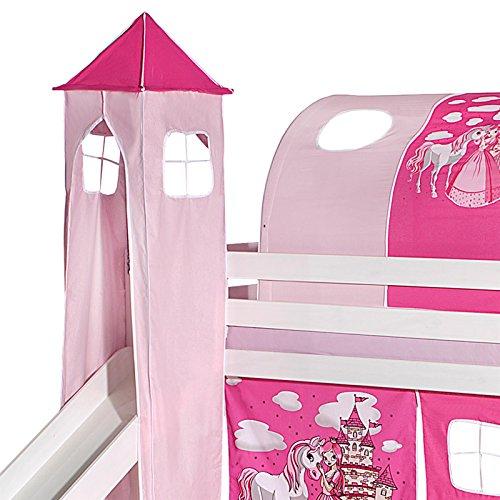 IDIMEX Turm Prinzessin zu Bett mit Rutsche, Spielbett, Rutschbett, Kinderbett in pink/rosa
