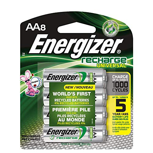Rechargeable AA Batteries, NiMH, 2000 mAh, Pre-Charged, 8 Count...