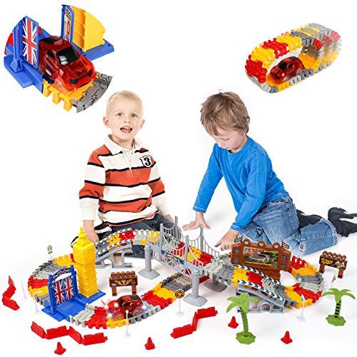 Rennbahn Cars Spielzeug Set 144 Stück Tracks Autobahn mit Big Ben Autos Flexible Lernspielzeug Geschenke für Kinder 3 4 5 6 Jahre Jungen Mädchen