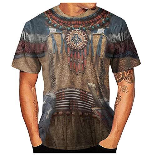 Herren 3D Vintage Ethnic Style Print Rundausschnitt Kurzarm T-Shirts Boho Lässig Casual Tops Streetwear Basic Shirts Kurzarmshirts Hemden Oberteil Tees Übergröße