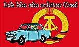 Fanshop Lünen Fahne - Flagge - Ich Bin EIN echter Ossi - DDR - Trabi - 90x150 cm - Hissfahne mit Ösen - Flaggen -