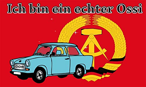Fanshop Lünen Fahne Flagge Ich Bin EIN echter Ossi - DDR Trabi 90x150 cm Hissfahne mit Ösen Hißflagge Flaggen Flag