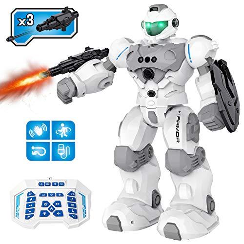 Pickwoo RC Roboter Spielzeug Kinder ab 5 6 7 8 9-12 Jahre, Ferngesteuertes Intelligente Roboter Kinder Spielzeug mit Gestensteuerung, LED Licht und Musik, Geschenk für Kinder Jungen Mädchen (Schwarz)
