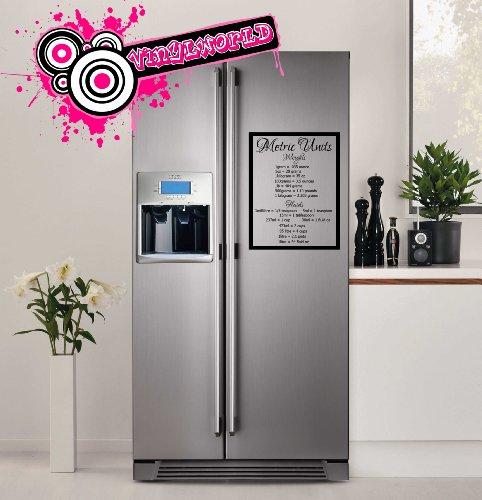 Metric Unit Conversion Tafel vinyl muurschildering grafisch voor koelkasten en keukenwanden sticker