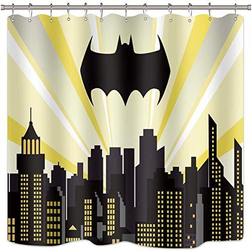 Duschvorhang mit Superhelden-Motiv Batman Stadtbild Nachtgebäude Szene Stadt Cartoon Skyline Film Kinder Badezimmer Dekor Stoff Polyester Wasserdicht 183 x 183 cm inklusive 12 Stück Kunststoffhaken