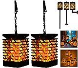 Outdoor Solar Decor Lanterns Lights,Flame Camping Lights Deck Decorations Outdoor Diamond Lights Lantern Landscape Solar Lights for Yard Garden Pathway, 2 Pack