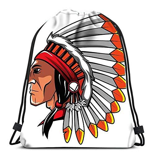 Bolsas De Cordones Apache Head Gimnasia Saco Bolsa Hombre Mujer Mochila Cordónes Ligero para Escuela Viajar