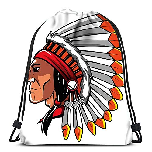 Unisex Drawstring Bags,Apache Head Sport Gym Bag Casual Sackpack Backpack Men & Women Drawstring Backpack For Climbing Traveling Swimming
