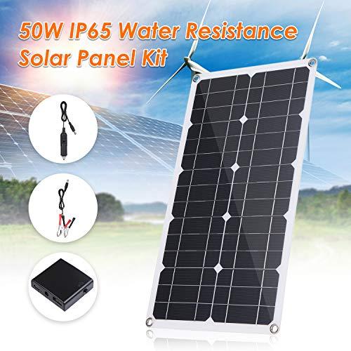 Tickas flexibles Solarpanel,50W DC 9V /18V Flexibles Solarpanel mit USB/Typ C-Schnittstelle und Auto-C-Ladegerät 10/20/30/40 / 50A Solar-C-Ladegerät-Controller IP65 Wasserbeständigkeit im Innen- und