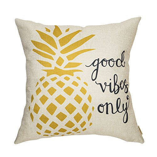 Fahrendom Good Vibes Only Watercolor Pineapple Motivational Sign Inspirational Quote Cotton Linen Home Decorative Throw Pillow Case Cushion Cover with Words for Sofa Couch, 18 x 18 in