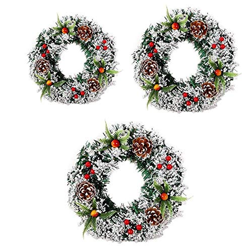 HOMEDAI Christmas Wreath Front Door Wreath Outdoor Wall Hanging Ornaments Garland Christmas Decoration Gifts for Party Easter Thanksgiving Day Decor(3-Piece Set)
