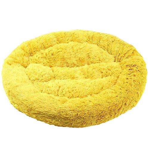 HAOSHUAI Haustier-Bett, Gelb Haustier-Bett-Kennel Dog Langer Plüsch super weicher Bequeme Runde Katze Winter Warmer Schlafsack Puppy Kissen Mat Kennel Sofa Mat