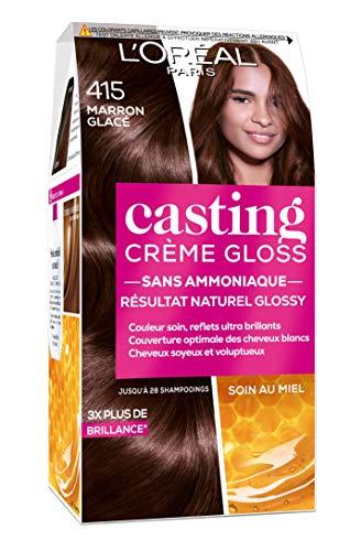 L'Oréal Paris Casting Crema Gloss Colorazione Tono su tono senza Ammoniaca 4.15 Marrone Glacé Set di 2