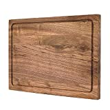 Large Wood Cutting Board (Walnut, 17 x 12 Inch) with Juice Drip Groove Chopping and Carving Countertop Block by Komista