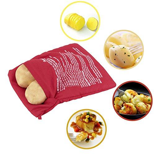 Bolsa microondas para asar patatas en 4 min mazorcas de maíz, pan del día anterior, y agregar condimentos a su gusto .Lavable y reutilizable de OPEN BUY