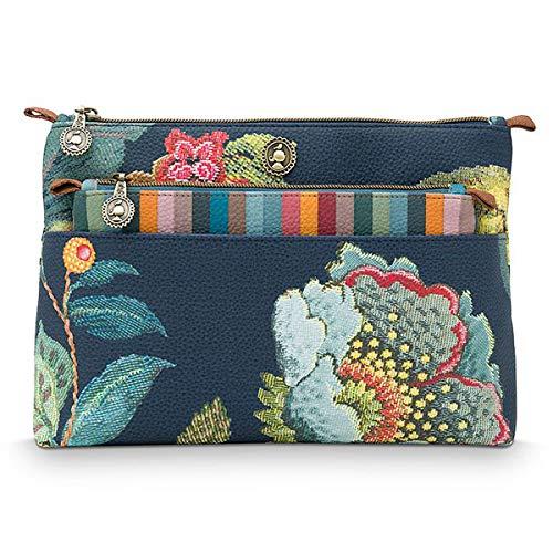 PIP Studio Kosmetiktasche/Kulturtasche Combi Poppy Stich blau 26x18x7.5cm/22x13x1cm mit Reißverschluss