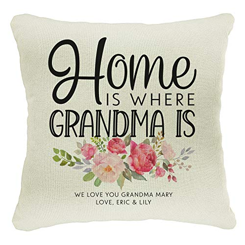 Personalized Moms Grandma Grandkids Best Mom Throw Pillow Case Mother'S Day Housewarming Gift | 18X18 Birthday Grandpa Xmas Father'S Day Covers Gifts | Christmas Last Name Home Decor Cases | C3 | D02