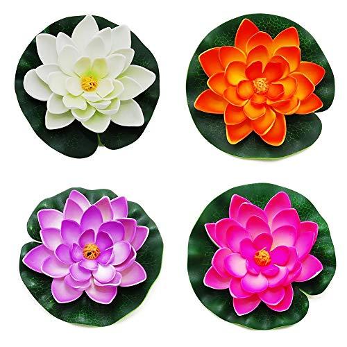 Maidi 4 PCS künstliche schwimmende Lotusblumen, schwimmende Teichdekor Realistische Schaum Seerose Lotusblume, 10 cm für Hausgarten Patio Teich