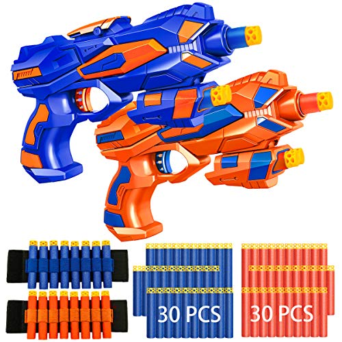 2 Pack Blaster Guns Boys Toy-with 60 Soft Foam Darts Bullets& 2 Wrist Bands for Nerf-Hand Gun Toys Gifts Party Supplies for 5,6,7,8,9 Years Kids