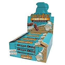 Packed with protein, with 20 g per bar Low in sugar, with just 1.4 g per bar A triple-layered treat, featuring a tasty salted caramel layer, soft nougat and a delicious milk chocolate coating Carb Killa is an indulgent low sugar snack, perfect for en...