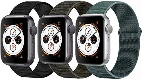 Tervoka Kompatibel mit Apple Watch Armband 44mm 42mm, Nylon Sport Armband Ersatzband für iWatch Armband Series 5/4/3/2/1, 3Pack C