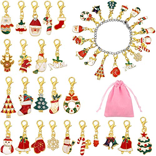 Hicarer 27 Stücke Adventskalender mit Armbändern und 24 Stücke Weihnachtskalender Anhängern mit Rosafarbener Tasche für Frauen Weihnachten Geschenk Schmuck