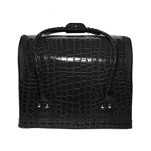 Cosmetic Case Large-capacity Portable Suitcase Cosmetic Bag Organizer Nail Beauty (Color : Black)
