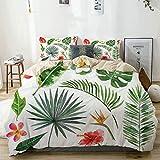 Juego de funda nórdica beige, juego de plantas tropicales artísticas, elementos de la selva tropical exuberante, flores y hojas, juego de cama decorativo de 3 piezas con 2 fundas de almohada, fácil cu