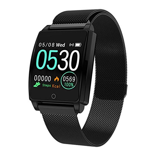 YNLRY Smart Watch Android IOS Heart Rate Bracelet Blood Pressure Fitness Pedometer Stopwatch Countdown Step Color Waterproof Sport Band (Color : BLACK STEEL)