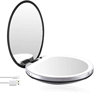 LED Lighted Travel Makeup Vanity Mirror with Lights and Magnification 1x/3x Magnifying, Illuminated, Portable, Folding, Perfect for Handbag, Pocket & Travel (Black)