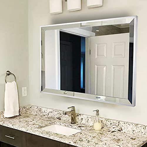 Chende 90 x 70 cm, espejo de baño rectangular, espejo de baño con borde biselado de 5 cm, de acero inoxidable, espejo cosmético para maquillaje, diseño horizontal o vertical