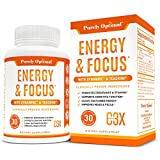 Premium Brain Booster & Energy Pills - Caffeine Pills for Clean, Sustained Energy - Nootropic Brain Supplement for Stress Relief, Focus, Clarity & Mood, with Ginkgo Biloba & Rhodiola Rosea - 30 caps