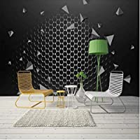 Iusasdz カスタム大壁紙壁画3Dシンプルな黒と白の幾何学的な鉄メッシュライン波背景壁紙壁画120X100Cm